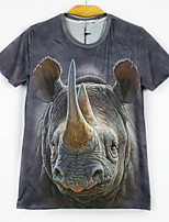 European Style TEE Digital Printing 3D  Animal Rhinoceros T-shirt Harajuku Sleeved T-shirt