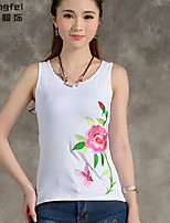 Women's Solid Red/White/Black/Green Vest , Round Neck Sleeveless Embroidery