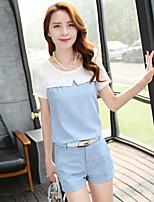 Women's Cotton/Linen Casual/Work Short Sleeve