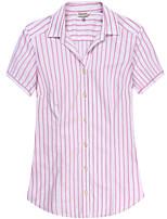 Women's Cotton Short Sleeve Striped Blouse
