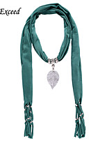 D Exceed  Women Fashion Green Polyester Solid Color Scarves with Alloy Hollow Out Leaf Pendant Tassel Jewelry Scarfs