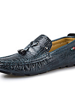 Men's Shoes Leather Wedding / Party & Evening Loafers Wedding / Party & Evening Walking Flat Heel Others Blue / Brown