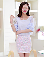 Women's Blue/Pink/White Blouse , Round Neck ½ Length Sleeve