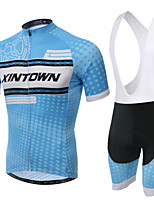 WEST BIKING® Men's Mountain Bike Clothing Bib Suit Breathable Blue Pattern Wicking Cycling Clothing Bib Short Suit