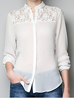 Women's Casual/Work Micro-elastic Long Sleeve Regular Shirt (Chiffon)