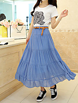 Women's Sexy/Casual Stretchy Thin Maxi Skirts (Linen)
