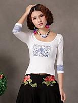 Women's Geometric White/Black T-shirt , Round Neck ½ Length Sleeve
