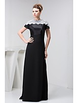 Mother of the Bride Dress Floor-length Short Sleeve Lace and Satin A-line Dress