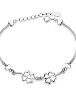Jazlyn Authentic Platinum Plated 925 Sterling Silver Woman Kids Four Leaf Clover Link Chain Bracelet Christmas Gift