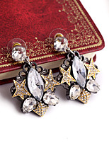 Double Star Inlay Diamond Drop Earrings(1Pair)
