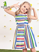 KAMIWA ® Girl's Summer Rainbow Striped Printed Sleeveless Dresses Princess Beach Kids Clothes Children's Clothing