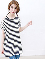 Damen T-Shirt  -  Spitze Baumwolle Kurzarm Rundhalsausschnitt