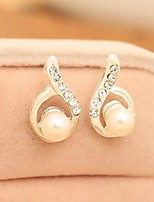 Diamond Droplets Arc Pearl Stud Earring