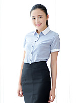 JAMES Summer Women's Anti-UV  Blue-Strips and White Collar Short Sleeve Shirt/ Blouse Business Casual  Hot Fashion