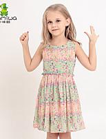 2015 Girls Summer Floral Bohemian Chiffon Dresses Sleeveless Beach Skirts Princess Children Clothing Kids Clothes