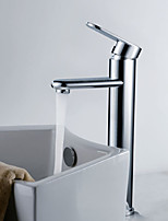 Shengbaier Contemporary Brass Bathroom Sink Faucet - Chrome Finish (Tall)