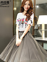 Women's Pink/Gray Skirts , Casual Midi