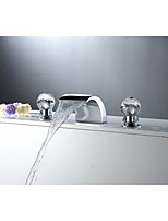 Aquafaucet Crystal Handle Widespread Bathroom Sink Vessel Faucet Lavatory Vanity Basin Mixer tap