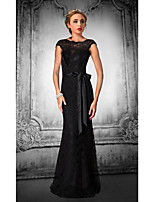 Formal Evening Dress - Black Plus Sizes / Petite Trumpet/Mermaid Jewel Floor-length Lace / Tulle