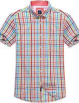 Camisa De los hombres Casual/Trabajo/Formal/Tallas Grandes Cuadros Escoceses - Algodón - Manga Corta