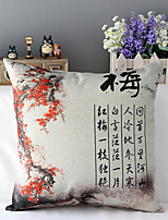 Chinese Style Ink Painting Plum Patterned Cotton/Linen Decorative Pillow Cover