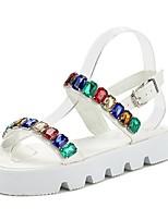 Chaussures Femme Faux Cuir Talon Plat Bout Arrondi/Bout Ouvert Sandales Décontracté Noir/Blanc