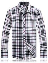 Men's Casual/Work/Formal Pure Long Sleeve Regular Shirts (Cotton Blends)
