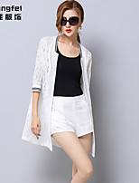 Women's White Casual ½ Length Sleeve Lace Hollow Out