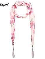 D Exceed  Ladies Winter Causal Pink Rose Flower Print Floral Chiffon Scarves Necklaces with Tassel Jewelry Scarf