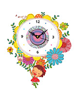 Modern Colorful Flowers and Little Girl Pattern Plastic Wall Clock 15.7*19.6 inch / 40*50 cm
