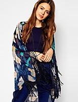 Women's Print Multi-color Blouse Long Sleeve Tassel