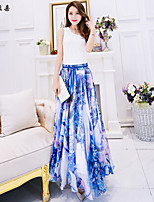 Women's Floral/Print Blue/Red Skirts , Vintage/Beach/Casual/Print/Cute/Party/Maxi Maxi Flower