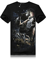 Men's Casual/Plus Sizes Print Short Sleeve Regular T-Shirts (Cotton/Elastic/Lycra)