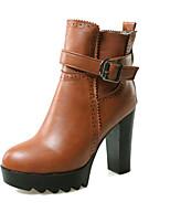 Zapatos de mujer - Tacón Robusto - Plataforma / Botas a la Moda - Botas - Vestido / Casual - Semicuero - Negro / Marrón / Rojo