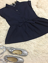 Girl's Summer Micro-elastic Short Sleeve Dresses (Cotton)