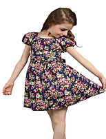 Kids Girls Bow Belt Floral Flower Printed Party Princess Sundress Dresses (Cotton Blends)