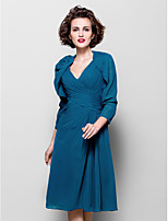 Women's Wrap Shrugs 3/4-Length Sleeve Chiffon Ink Blue Wedding / Party/Evening Wide collar 39cm Draped Open Front