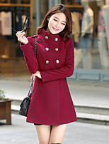 Women's Solid Coat , Casual/Work Long Sleeve Others Button
