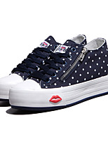 Women's Shoes Canvas Flat Heel Platform/Comfort/Round Toe Fashion Sneakers/Athletic Shoes Outdoor/Casual Blue/Red/White