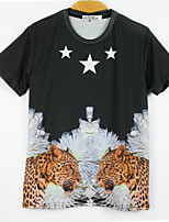 European Style TEE Digital Printing 3D T-shirt Five Star Leopard Harajuku Sleeved T-shirt