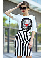 Women's Print/Striped/Patchwork/Color Block Multi-color T-shirt , Stand ½ Length Sleeve