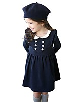 Kids Girls School Style Puff Sleeve Doll Collar Soild Color Party Dress (Cotton Blend)