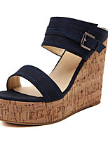Women's Shoes  Wedge Heel Wedges/Platform/Open Toe Slippers Casual Black/Blue