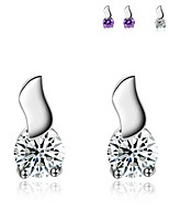 Jazlyn Woman Man Authentic Platinum Plated 925 Sterling Silver S Cubic Zircon Drop Stud Earrings