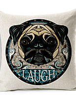 Modern Style Cartoon Dog Head Patterned Cotton/Linen Decorative Pillow Cover