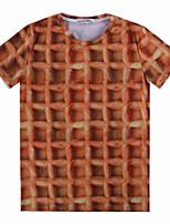 European Style TEE Digital Printing 3D T-shirt Waffle Harajuku Sleeved T-shirt