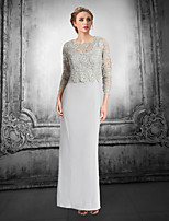 Sheath/Column Mother of the Bride Dress - Silver Floor-length Lace