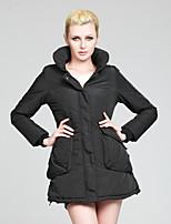 Women's Solid Black/Beige Parka Coat , Casual Long Sleeve