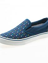 Chaussures Femme Similicuir Talon Plat Bout Arrondi Baskets à la Mode Décontracté Noir/Bleu/Gris
