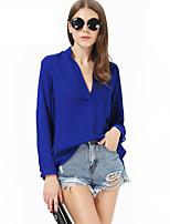 Women's Solid Blue Shirt , Stand Long Sleeve